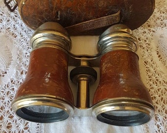 Vintage Opera Glasses in Chocolate Leather Case!