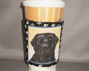 Coffee Cozy - Black Lab - Coffee Cuff -  Coffee Sleeve - Reuseable Fabric Cozy - Eco Friendly - Dog - Paw Prints