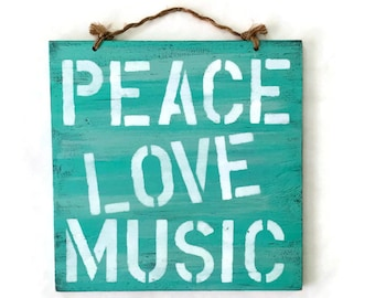 Peace Love Music Wood Sign Beach House Sign Boho Sign Beachy Decor Hippie Sign Bohemian Wall Decor Boho Chic Hippie Decor - Pink or Aqua