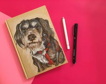 Pet Portrait Notebook - Stationery - Personalised -A5 - Dog - Animals - OOAK - Book - Custom - Hardback - Bespoke