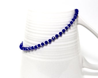Ankle bracelet in stainless steel with royal blue crystals beveled and silver glass