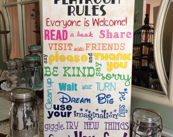 Playroom Rules Sign, Typography Style Playroom Rules Sign, Playroom Sign
