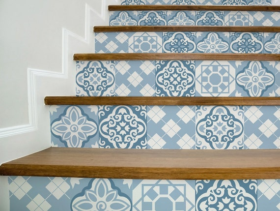 Stair Decals BLUE MOROCCAN STYLE Beautiful Stair Stickers