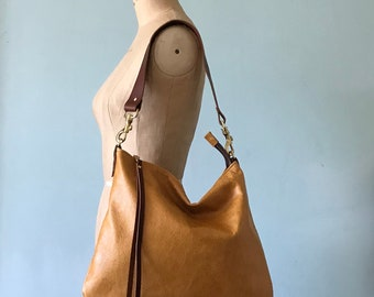 Brown leather bag, mustard brown leather handbag, leather messenger bag, tan brown leather purse