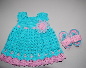 Merivette Crochet dress with matching sandals ~ MADE TO ORDER