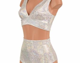 "2PC Silver/White Shattered Glass Starlette Bralette & High Waist ""Siren"" Shorts Set Sexy Sparkly Rave Festival EDM - 155124"