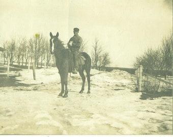 Horseback Rider Winter Farm Man on Horse Antique Photograph Sepia Photo