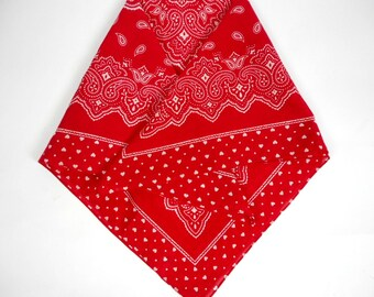 Vintage Cotton Bandana, Red and White, Paisley Design Scarf