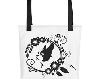 Boston Terrier Dog on White Background Book Market Tote Bag Dog Lovers Gift Idea