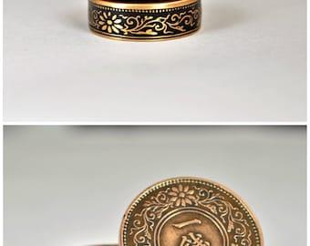 Japanese Coin Ring, Black Ring, Japanese Ring, Coin Ring, Bronze Ring, Japanese Coin, Japanese Jewelry, Coin Rings, Japanese Art, Coin Art