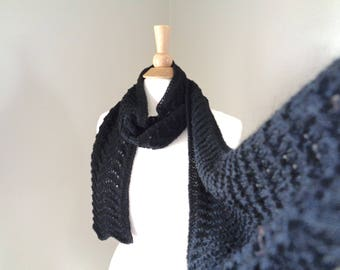 Women's Black Scarf, Alpaca Wool Cashmere, Scallop Scarf, Lace Design, Hand Knit, Natural Luxury