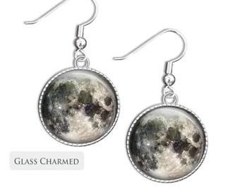 Moon Earrings - Silver drop earrings dangle glass Science earrings full moon picture short space jewellery (EM1)