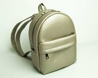 Eco leather backpack Mini backpack Gray backpack Vegan leather rucksack Small backpack Women rucksack City backpack Faux leather