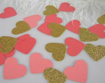 Confetti Hearts Coral & Gold | Table Scatter | Coral Wedding Decorations | Bridal Shower Baby Shower | Gold Glitter and two tones of Coral