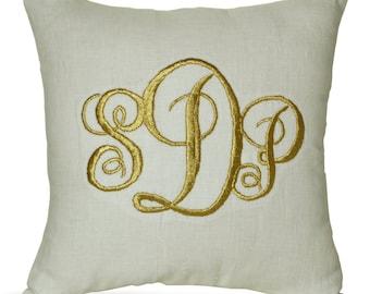 Monogrammed Pillow, Linen Pillow, Embroidered pillow, Dorm decor, gifts, Personalized pillow, Initial pillow, Letter pillow, Gold Pillow.