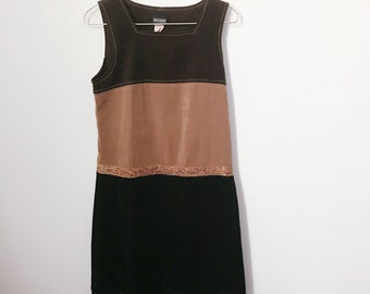 vintage 70s brown and black suede-effect shift dress (small) – free us shipping