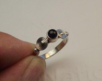 black onyx, sterling silver ring,