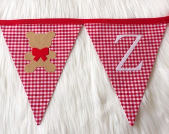 Red teddy bear picnic Fabric bunting banner
