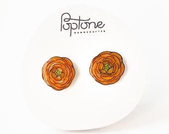 Ranunculus Flower earrings, orange floral studs, flower stud earrings