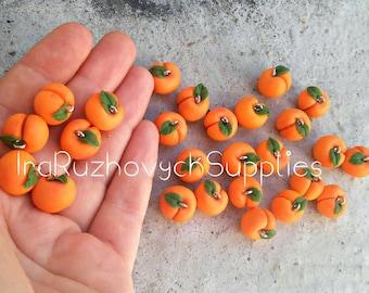 10 pcs. peaches, polymer clay beads, peach