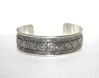 Boho bracelet, Silver Bracelet, Tribal Bracelet, Gypsy bracelet, filigree bracelet, Hippie Bracelet, Tibetan bracelet, designed bracelet