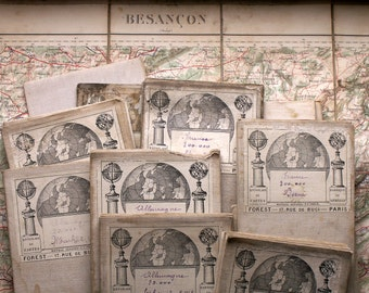 Antique Cloth Backed French Travel Maps - Flea Market Finds - Large Horizontal Format