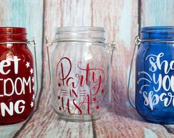 4th of July Mason Jar Lanterns (Set of 3)