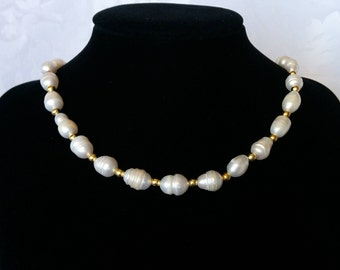 Freshwater Pearl and Gold Tone Necklace, Baroque Pearl and Gold Tone Necklace, Pearl Choker
