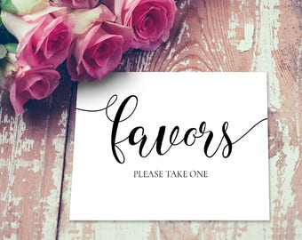 Editable Favors Wedding Sign, Please take one Sign, Printable Favors Wedding Sign, Wedding Reception Sign DIY DOWNLOAD