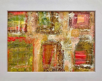 Original Abstract Painting, One of a Kind Small Acrylic Modern Wall Art, Textured Rustic Home Decor