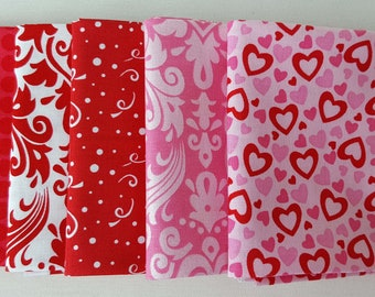 Fat Quarters. Collection of five red and pink fat quarters. 100% Cotton Quilting Fabric. Fat Quarter Bundle, High Quality Fabric.