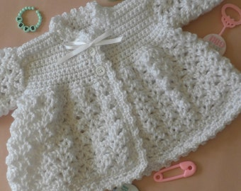 Christening sweater, baptism sweater, white baby sweater, crochet baby sweater, baby girl sweater, baby boy sweater, baby sweater, sweater