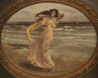Quality Hand Coloured Art Nouveau 1900 Print Summer Breezes or Poseidon's Mistress on the Shore by William Henry Margetson
