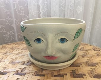 Handmade Lady Face Flower Pot in Stoneware