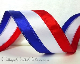 "Wired Ribbon, 2 1/2"", Red, White and Blue Striped Satin - TEN YARD ROLL -  ""American Stripe"" Patriotic, 4th of July, Memorial Day"