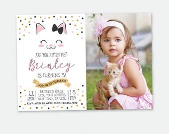 Kitty Birthday invitation with Photo, Kitty Cat Birthday Party, Cat Invitation, Pawty Invitation, Personalized Digital Invitation