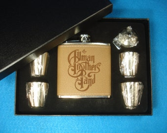 Allman Brothers Band - Deluxe Leather Flask Gift Set - Great Christmas gift for an Allman Brothers fan