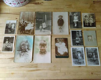 Lot of vintage and antique photographs of children and babies - Victorian Edwardian 1930s hand coloured