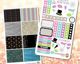 New Year's Eve Colorful Theme Planner Stickers