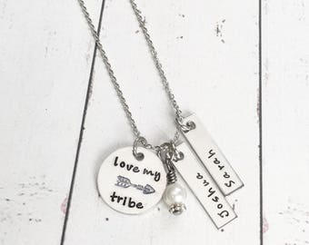 Love My Tribe Mothers Necklace with Kids Names - Tribe Necklace - Tribe Jewelry - Arrow Necklace - Arrow Jewelry-Mommy Necklace-Mom Necklace
