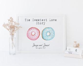 Personalised wedding gift print - personalised wedding gift - donut print- engagement gift - wedding day