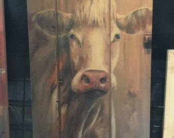 william the cow wood print