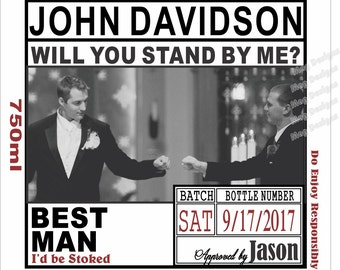 Will you be my Groomsman - Grooms Photo Labels Custom Wedding Party and Groomsman Photo Liquor Labels - Bourbon - 1 label
