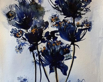 """Original Floral Painting , Indigo Blue and Aztec Gold Colors, Abstract Flowers, """" Nightingale """", Sissy Altom Original"""
