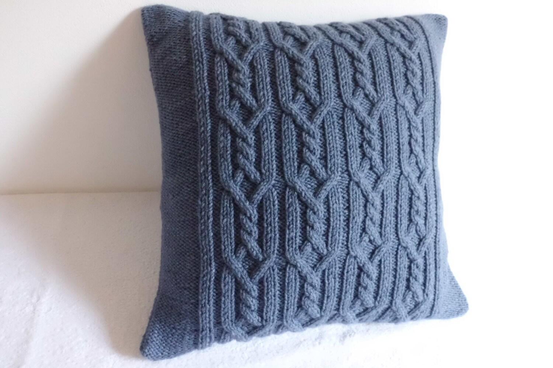 Kabel stricken dekorative stahlblau Kissen blau grau Kissen