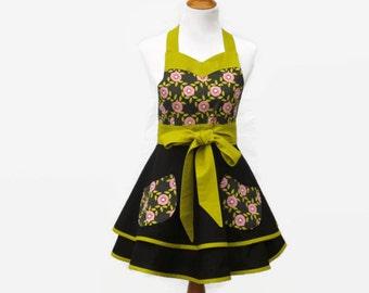 Women's Black & Gray Floral Retro Apron, Black and Green Apron, Black Retro Apron Floral, Black Floral Hostess Apron, Personalized Apron