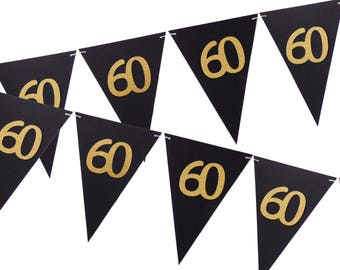 60th Birthday Banner, Black and Gold Party Decor, 6ft Photography Prop, Pennant Banner, Triangle Flag Bunting Banner