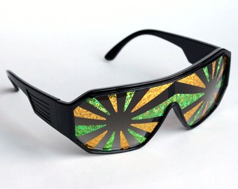 Rasslor Green and Gold Black Shield Sunglasses