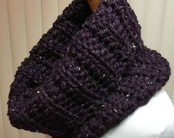 Cowl, Purple, Turtleneck, Crochet Scarf, Chunky, Neck Warmer, OOAK, Handmade, Winter, Gift for Him, Gift for Her