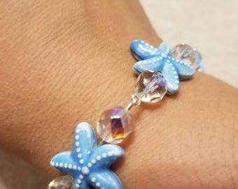 9 inch starfish beaded bracelet with clasp
